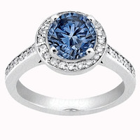 3.76 carats round blue halo diamond white gold 14K anniversary ring jewelry