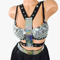 Carnival of Mirrors inspired on Burning Man 2015 / mirror bra/ flow skirt/ harness / edc