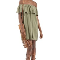 Women's Topshop Ruffled Off the Shoulder Dress,