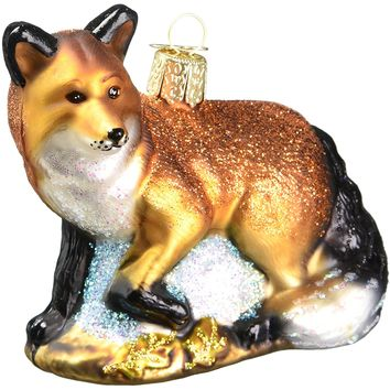 The Red Fox Blown Glass Christmas Ornament