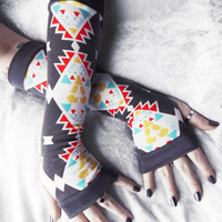 Smoke Signals Arm Warmers - Grey White Red Mustard Yellow Turquoise Blue Aztec Cotton - Yoga Gothic Belly Dance Tribal Cycling Boho Charcoal
