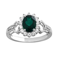Sterling Silver Lab-Created Emerald, Lab-Created White Sapphire & Diamond Accent Oval Frame Ring