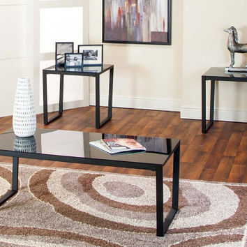 Black and Glass Coffee and End Table Set | Ferara 3 Piece Table Set | American Freight
