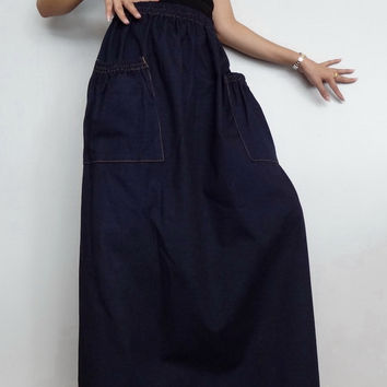 Women Jeans Long Skirt,Comfortable Unique, Cotton Denim Medium weight Dark Blue (Skirt-1E).