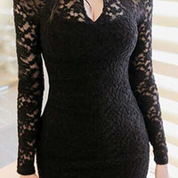 Pearl Embellished Neckline Black Lace Crochet Mini Dress