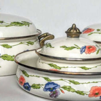 Vintage cookware, enamel cookware, mothers day gift, asta german cookware, spring kitchen decor, pots and pans set,