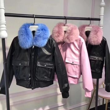 givenchy women simple fashion fur collar long sleeve zip cardigan pu leather clothes cotton padded jacket coat-1