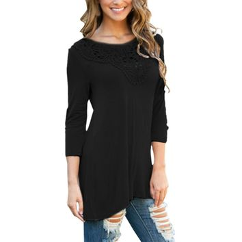 Autumn Slim Blouse Women Ladies Lace Splice Solid Long Sleeve Casual Tops Blouse Black Shirt Clothes blusas mujer