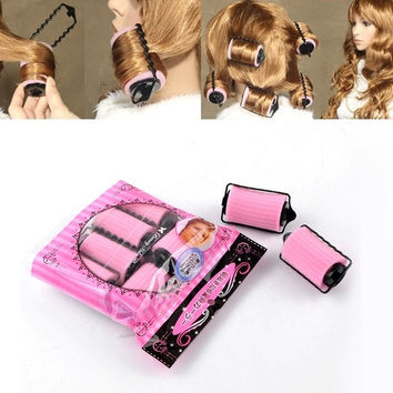 "1Packet(6PCs) Pink Hair Rollers Curlers Hair Tools 3 2/8""x1 6/8"" (Size: 8.3cmx4.5cm, Color: Pink) = 1705659524"