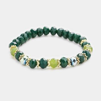 Faceted Glass Beaded Stretch Bracelet