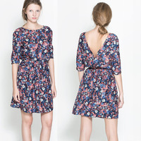 V-Back Floral Chiffon Dress