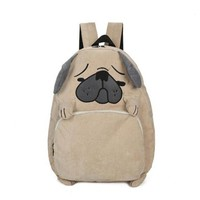 Animal Prints Corduroy Backpacks for Teenage Girls Fashion Cute Pug Dog Preppy Style Book Bags Casual Schoolbags For Students