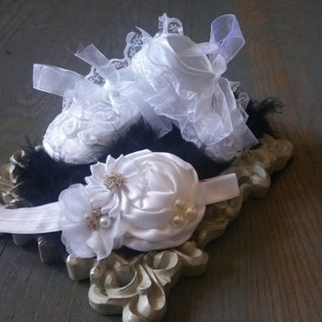 Baptism Baby Shoes, Baby girl white Shoes,White Baby headband,Christening baby shoes, baby girl crib shoes,Wedding Baby Shoes, Ready to ship