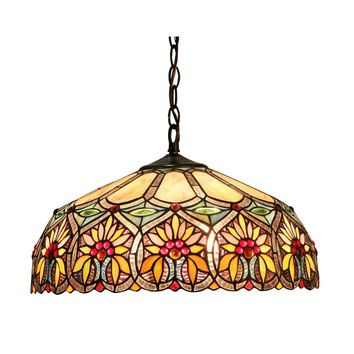 "SUNNYTiffany-style 2 Light Floral Ceiling Pendant Fixture 18"" Shade"