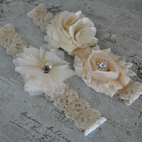 Burlap Wedding Garter, Cream Lace Garter, Burlap Flower, Cream Burlap Garter