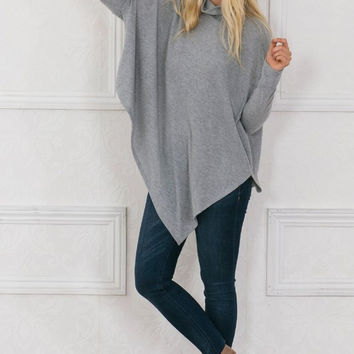 Soft Grey Poncho