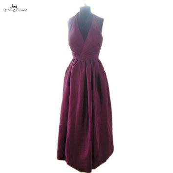 RSE253 Halter Neckline Long Taffeta Country Style Purple Bridesmaid Dresses