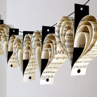 Music recycled paper heart garland in black and white by bookity