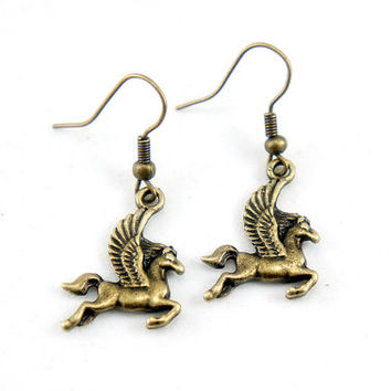 White Horse Earrings - Horse with Wings - Antiqued Brass Vintage Style Flying Horse Dangle Earrings - Bridesmaids Gifts Idea - CP014