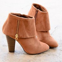 Womens Ankle Boots Fold Over Chunky Heel Almond Toe Zip Up Booties Shoes Camel