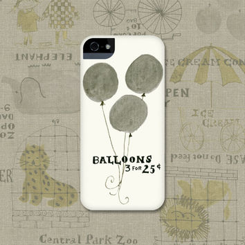 Retro iPhone Case, Gray Balloons iPhone 5 Case, Nostalgic iPhone 4 Case Galaxy S3, S4, iPhone 5S, 4S