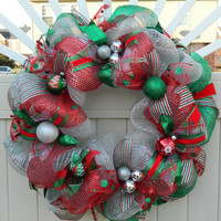 Deco Mesh Christmas Wreath - Silver Red Green Deco Mesh Wreath - Holiday Wreath - Xmas wreath - Traditional Christmas Decor
