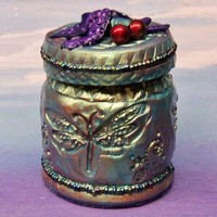 Blue Polymer Clay Covered Jar Decorated with Beads and Dragonflies | CreativeCritters - Housewares on ArtFire