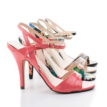 Captive By Delicious, Open Toe Strappy Sling aback Stiletto Heel Sandals