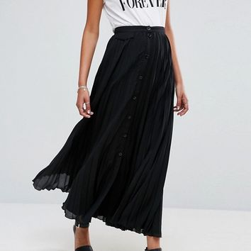 ASOS Pleated Maxi Skirt with Button Detail at asos.com