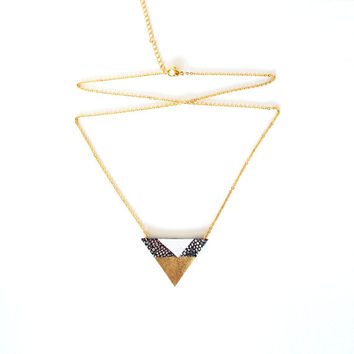Valentine Day's Gift // Geometric Leather Necklace // Gold Plated Steel Chain // Holographic Gold White Triangle Art deco Pendant