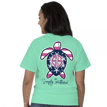 "Simply Southern ""SAVE Flag"" Turtle Short Sleeve Tee"