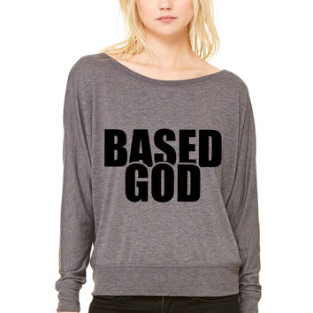 Based God WOMEN'S FLOWY LONG SLEEVE OFF SHOULDER TEE