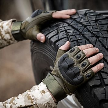 Army Tactical Fingerless Military Hard Knuckle Half Finger Gloves Airsoft Paintball Bicycle Shooting Antiskid Protection For Men