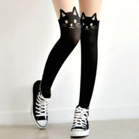 Hello Kitty Tattoo Stockings Mock Thigh-High Black Cat with Tail Tights New Year Party Dress Christmas Valentines Day Gift LBD Accessory