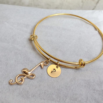 Music pendant initial bracelet, cleft note, Gold initial, adjustable bracelet, white gold, Bridesmaid gift idea, Bridal gift for her