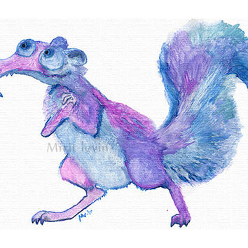 Squirrel childrens Watercolor Painting PRINT ice age