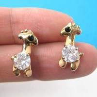 Small Giraffe Animal Stud Earrings with Rhinestone and Dot Detail