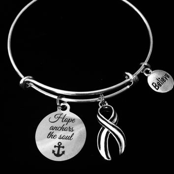 ALS bracelet Lou Gehrig's Disease Charm Bracelet Navy and White Awareness Ribbon Silver Expandable Adjustable Bangle One Size Fits All Gift Amyotrophic Lateral Sclerosis Believe Jewelry Hope Anchors the Soul