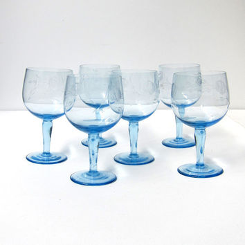 Vintage mid century set cottage etched rose pale blue wine glasses