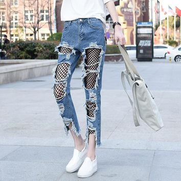 Plus Size Pants Summer Cropped Pants Strong Character Ripped Holes Lace Jeans [11711800783]