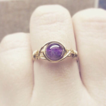 Amethyst ring - unique ring - bohemian jewelry - wire wrapped ring - thick band - size US 5-11