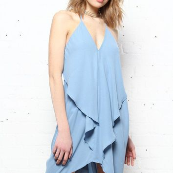 Take The Plunge Draped Origami Dress - Fray Blue