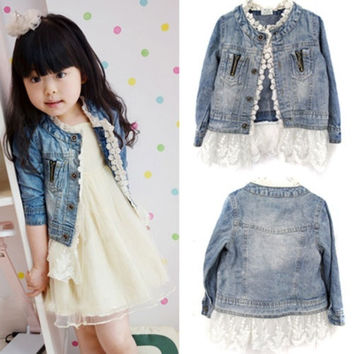 Girls Kids Jean Coat Jacket Outwear Denim Top Button Lace Button Outfits 2-7T = 1930229252