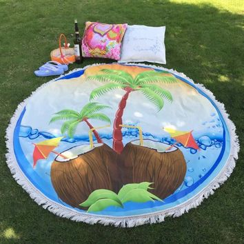 Round Hippie Tapestry Beach Throw Roundie Towel Yoga Mat Bohemian