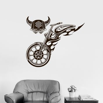 Vinyl Decal Motorcycle Fire Bike Biker Wheel Horn Helmet Wall Sticker Unique Gift (ed489)