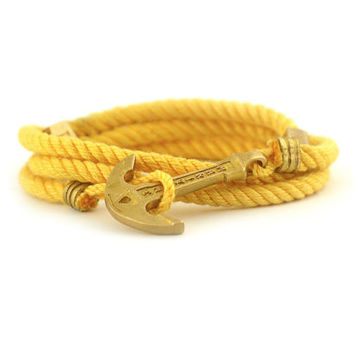 Anchor Bracelet / Mens Bracelet / Yellow Bracelet MARITIME Collection / Women Wrap Bracelet / Sea Bracelet / Rope Bracelet / Adjustable Size