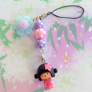 Kawaii pink Geisha flower phone charm - japanese doll - kabuki figure charm - Glass pearl beads - polymer clay flower.