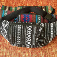 Ethnic Festival Fanny packs Belt Bum bag Tribal Aztec fabric Travel phanny waist Ikat Hippies Gypsy Bohemian Hipster fashion white black