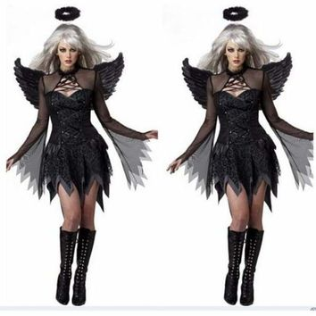 Women Sexy Dark Angel Costume Adult Halloween Cosplay Party Raven Black Fallen Angel Fancy Dress with Halo & Wing new Macchar Cosplay Catalogue