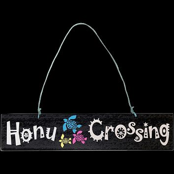 """Honu Crossing"" Wooden Decor Sign"